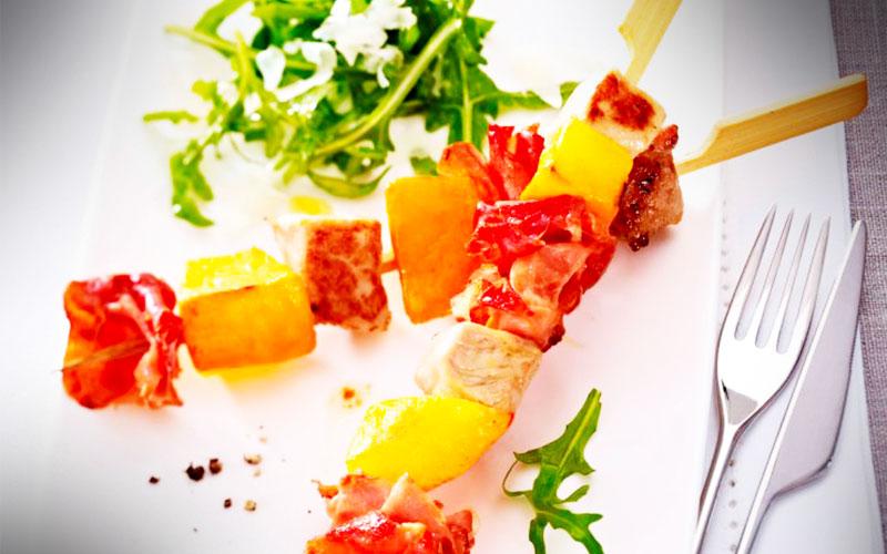 rezepte Schweinefleisch-Kürbis-Serrano-Spieße