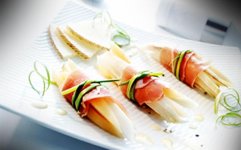 rezepte serrano rollchen mit spargel honigmelone und manchego